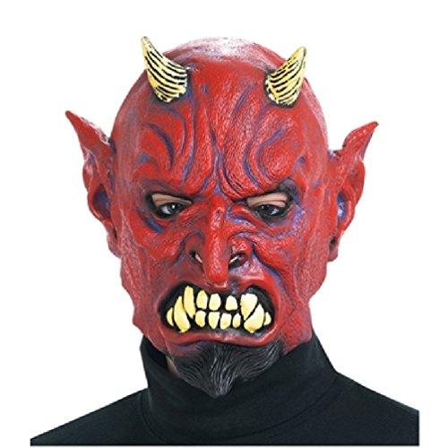 [DELUXE RED DEVIL HORNED HALLOWEEN FULL HEAD LATEX MASK Don Post Studios] (Latex Devil Mask)