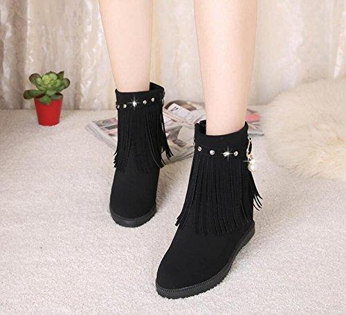 KHSKX-Negro 7Cm Mayor En Otoño Y En Invierno Botas De Nieve Martin Y Cómodo Flujo De Botas Cortas Zapatos De Mujer 37 39