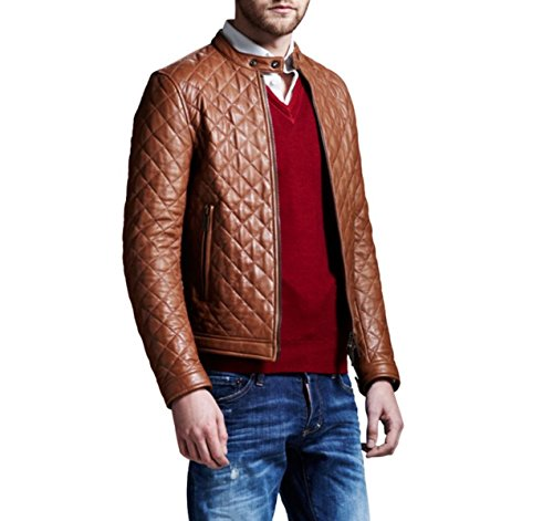 World Of Leather Full Quilted Genuine Lambskin Leather Jacket Bomber Tan Biker ()