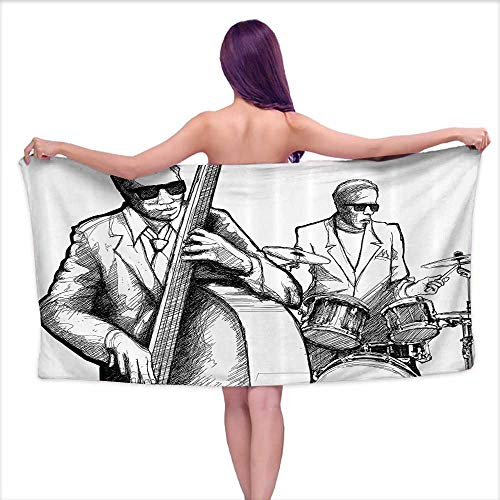 Glifporia Custom Bath Towel Jazz Music Decor,Illustration of a Jazz Band Musicians Playing Drum Music Concert Performance,Black White,W31 xL63 for Kids Mickey Mouse