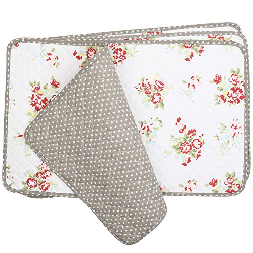 Neoviva Machine Washable Cotton Canvas Quilting Table Mats Set of 4 for Daily Dining, Floral Nit ...