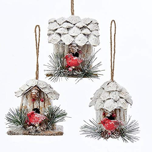 KSA Pack of 12 Assorted Pine Cone and Twig Birdhouses with Cardinal Bird Christmas Ornaments 3.5