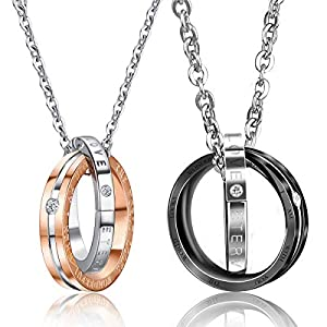 UHIBROS His & Hers Matching Set Cross Necklace for Couple Stainless Steel Pendant Chain for Men Women 2pcs