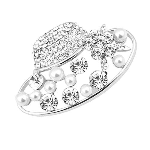 Rhinestones Brooch and Imitation Pearl Brooches for Female Pins Women Hajib Pin Tips for Collar (Silver) from 89LOOK-Brooch