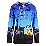 Halloween Women Pullover Hoodies - Lady Long Sleeve Pumpkin Devil Print Casual Blouse Shirt Fashion Hooded Sweatshirt