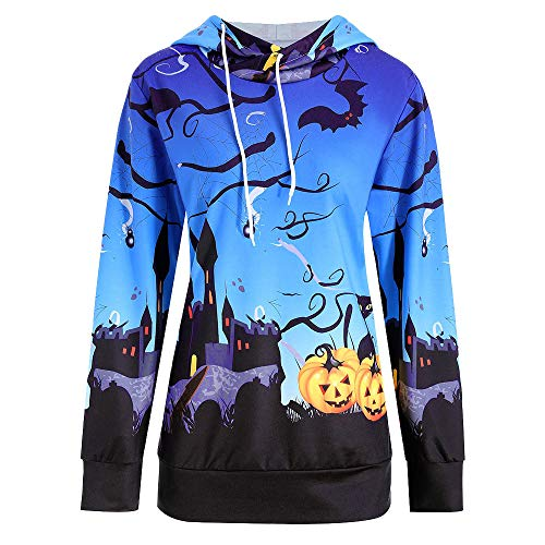 TWGONE Halloween Womens Tops Pumpkin Devil Sweatshirt Pullover Hoodie Blouse Shirt(US-6/CN-L,Blue)
