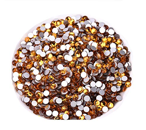Jollin Glue Fix Flatback Rhinestones Glass Diamantes Gems for Nail Art Crafts Decorations Clothes Shoes(SS30 288pcs,Topaz)