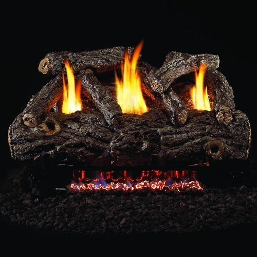 Peterson Real Fyre 24-inch Golden Oak Designer Log Set With Vent-free Propane Ansi Certified G9 Burner - Variable Flame Remote