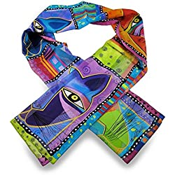 Laurel Burch Whiskered Cats Silk Scarf 54 X 11.5 In.