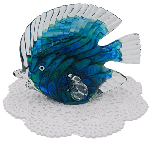 Beachcombers Coastal Life Decorative Ocean Animal Figurines with Westbraid Doily (Swirled Tropical Fish, 03300)