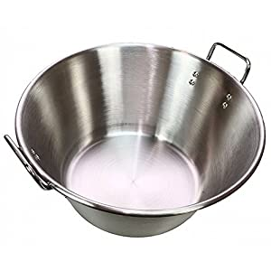 """16"""" Caso Pot Pan Stainless Steel Carnitas Cazo Kitchen Outdoor Cooking Birria Tamales Barbacoa BBQ Fried Fish Portable Gas Stove Burner Cook"""