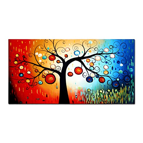VASTING ART 1-Panel 100% Hand-Painted Oil Paintings Colorful Ball Raining Modern Abstract Floral Artwork Stretched Wood Framed Ready Hang Handmade Tree Wall Decor
