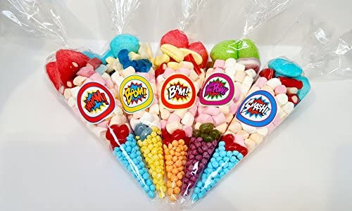 Ready Made Pre Filled Favours Sweet Cones Childrens Party Bags SUPER HERO SWEETS