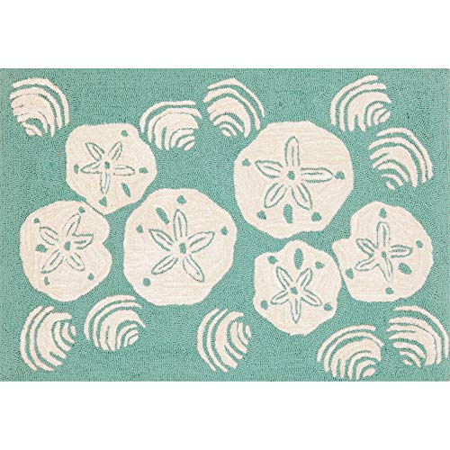 Liora Manne FTP34140818 Front Porch Whimsy Coastal Beach Silver Dollar Seashells Ocean Indoor/Outdoor Scatter Rug 30