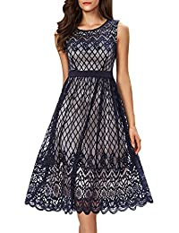 Womens A Line Lace Cocktail Wedding Party Midi Swing Tea Dress
