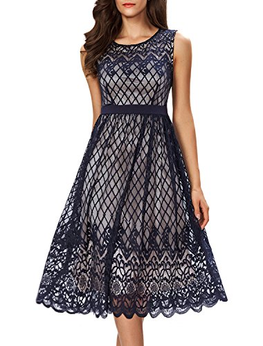 (Noctflos Women's A Line Lace Cocktail Wedding Party Midi Swing Tea Dress (Large, Navy))