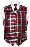 Men's Plaid Design Dress Vest & NeckTie Black Burgundy White Neck Tie Set sz 3XL