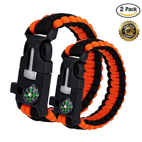 WePower 2PCS Survival Bracelet, Outdoor Survival Paracord Bracelet Kit with Compass, Whistle, Knife, Flint Fire Starter for Camping Hiking Fishing Running