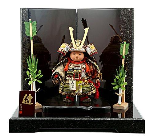 子供大将 五月人形 武者人形 公司作 表情人形 健 萌黄裾濃 鎧着 セット mi-ken-yoroi-h4 B01HZ5L95W