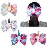 Oaoleer 7 inch Unicorn Cheer Bows Girls Shinny Boutique Grosgrain Ribbon Bow With Sparkly Alligator Clips for Toddlers Baby Teens Girls Womens Pack of 4
