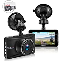 Dash Cam with 32GB Card, 1080P Dash Camera for Cars Full HD 170° Wide Angle Car Dashboard Cameras 3.0 LCD Metal Driving Recorder with G-Sensor, Night Vision, WDR, Loop Recording