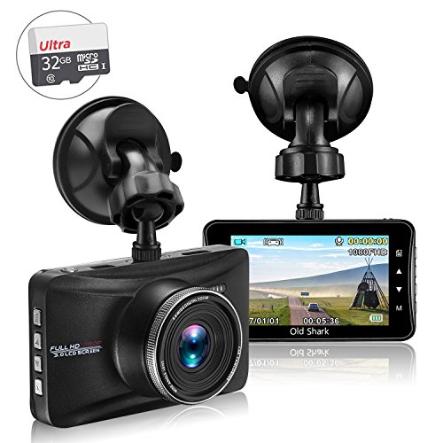 SharkMall Dash Cam with 32GB Card, 1080P