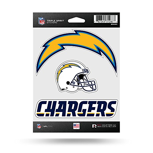 Rico Industries NFL Los Angeles Chargers Die Cut 3-Piece Triple Spirit Sticker ()