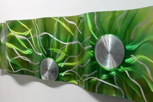 Vibrant Emerald Green Jewel Tone & Silver  Metallic Wave Wall Sculpture -