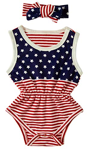 BFUSTYLE 12-18 Months Kid Child Girl 4th July Layette Bodysuit Acive Summer Pom Pom Fourth of July Onesie Pajamas 1pcs,Red White Stripe Blue White Star Print