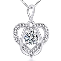 VAN RORSI&MO Heart Necklace-5A CZ Infinity Heart Pendant Necklace-14K Gold Plated Heart Necklaces for Woman-Jewelry Necklace for Women
