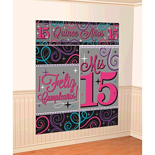 Elegant Mis Quince Años Scene Setters Wall Decorating Kit Birthday Party Decorations (5 Pack), Pink/Gray, 59
