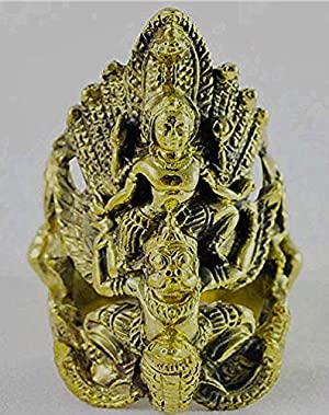 San Amazing Thai Jewelry Magic Ring Narayana on Garuda Warrior God Thai Amulet Gold Ring Size 13.5 / 22.8 mm