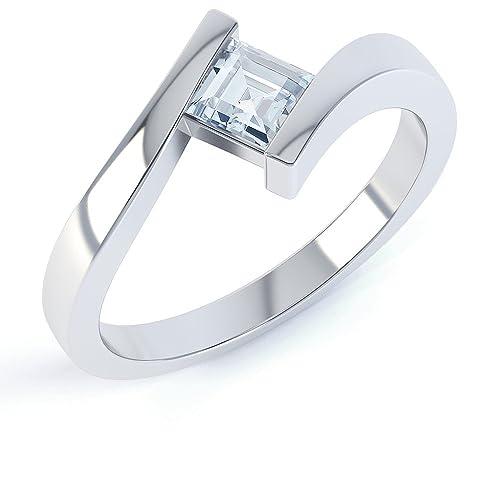 Damen-Ring Silber Aquamarin Asscherschliff geschwungen