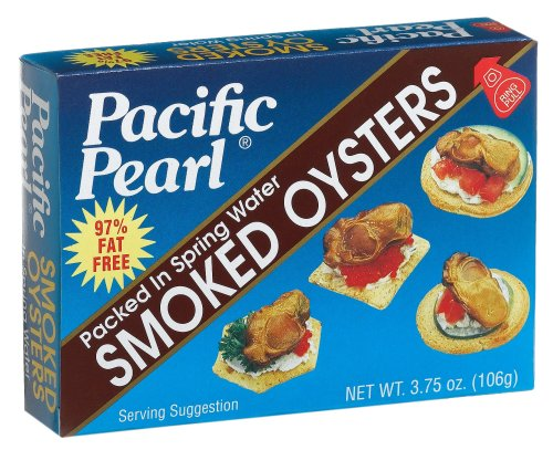 Pacific Pearl Smoked Oysters in Spring Water, 3.75-Ounce Cans (Pack of 12) by Pacific Pearl