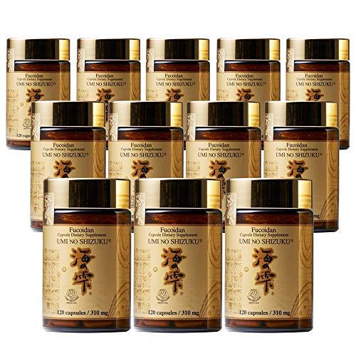 12 Bottles of Umi No Shizuku Fucoidan Capsule Pure Seaweed Extract Enhanced with Agaricus Mushroom Optimized Immune Support Health Supplement