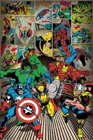 Amazon.com: Marvel Avengers Comic Book superhéroe Cartel 24 ...