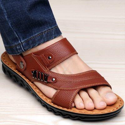 Xing Lin Sandalias De Hombre Verano Sandalias De Hombres Hombres Playa Ocio Antideslizante Shoes Sandalias De Cuero Sandalias De Cuero Transpirable Y Zapatillas Dark brown