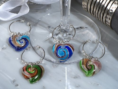 Murano Art Deco Collection Heart Design Wine Charms - Set of 4
