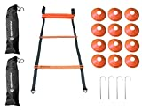 20 cones - Agility Speed Ladder 12 Rungs (20 Feet) + 12 Training Cones, 2 Black Carrying Bags, 4 Stainless Steel Metal Stakes, For Football, Soccer, Basketball, Baseball By Centry