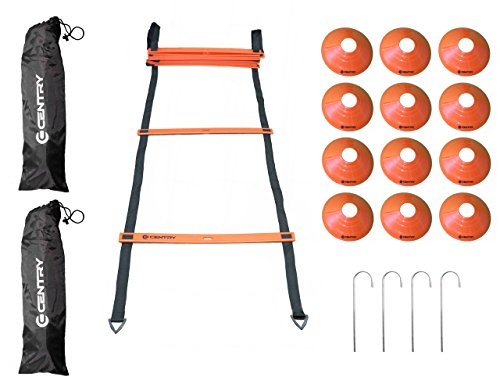 Agility Speed Ladder 12 Rungs (20 Feet) + 12 Training Cones, 2 Black Carrying Bags, 4 Stainless Steel Metal Stakes, For Football, Soccer, Basketball, Baseball By Centry