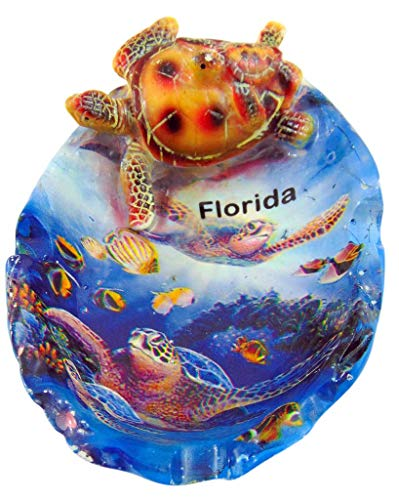Westman Works Florida Souvenir Ash Tray with Sea Turtle and Ocean Scene Polyresin Ashtray ()
