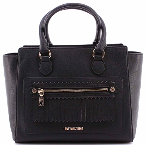 Sac Main Bandouliere LOVE MOSCHINO Small Grain PU Nero Black Synthetic Noir New