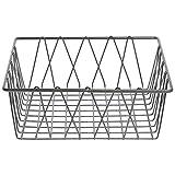 HUBERT Square Nickel Powder-Coated Steel Wire Basket - 12''L x 12''W x 4''H