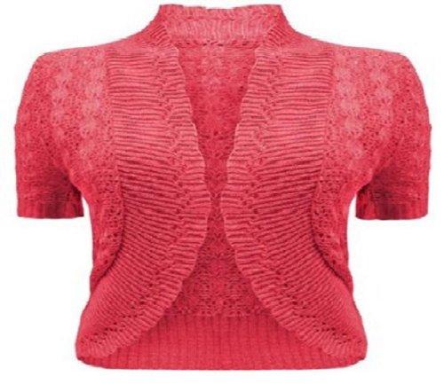 Las mujeres gorra Crochet de Punto Encogimiento De Hombros Bolero corto para mujer funda blanda de UK tamaño 8–�?6 fucsia