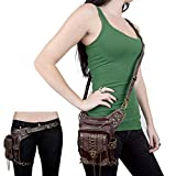 Steampunk Waist Bag Men Women Leg Hip Holster Purse Pouch Belt Cyberpunk Travel Chain Bags Multi-Purpose Leather Vintage Shoulder Bag Packs (Brown)