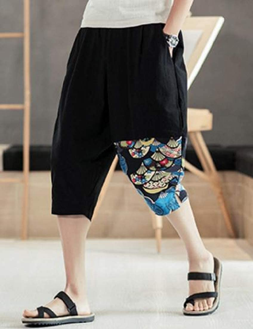 Winwinus Mens Linen Mid-Rise Bloomers Chic Soft Folk Style Casual Pants