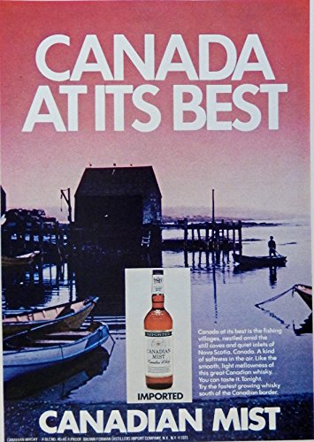 Canadian Mist Whiskey Print ad. 70's Full Page Color Illustration. Scarce old ad.(boat dock) Original 1972 Magazine Art