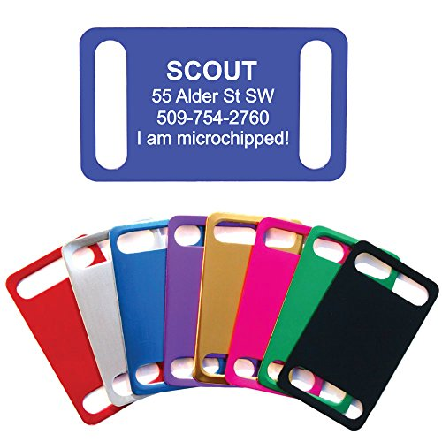 GoTags Slide-on Dog Tags, Silent Collar Tags for Dog and Cat Collars, Custom Engraved and Personalized with up to 4 Lines of Text, No Noise, Quiet Dog - Engraved Slide
