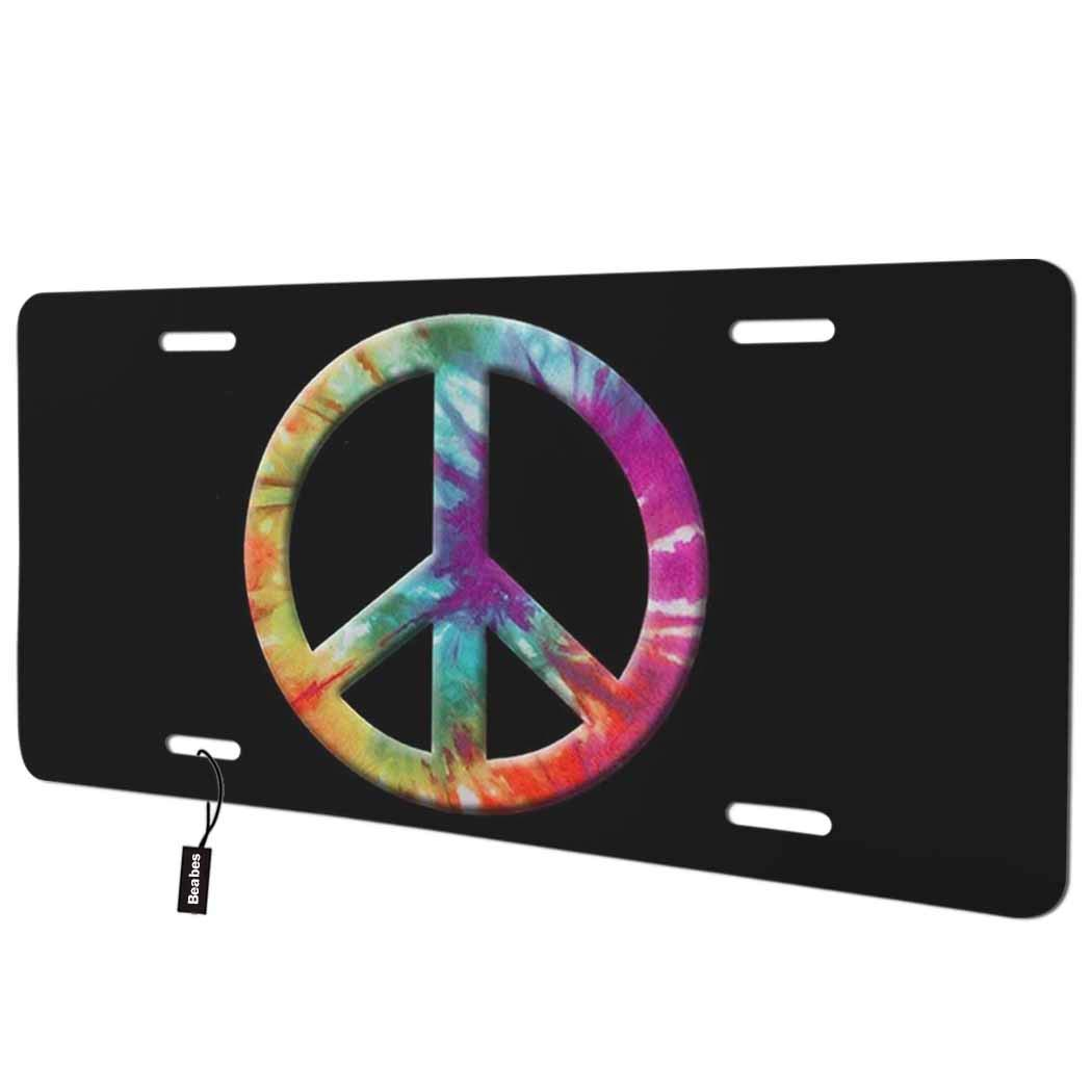 Beabes Colors Peace Sign Front License Plate Cover,Peace Symbol on Black Background Decorative License Plates for Car,Aluminum Novelty Auto Car Tag Vanity Plates Gift for Men Women 6x12 Inch