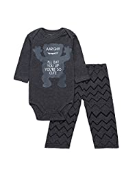 Baby Boys'2-Piece Outfit Infant Romper Cotton Long Sleeve Bodysuit and Pant Set